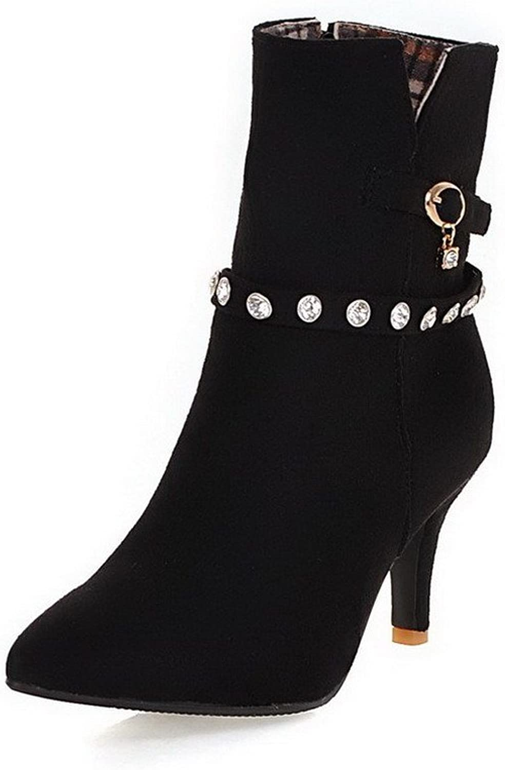WeenFashion Women's Pointed Closed Toe High-Heels Imitated Suede Boots with Crystals