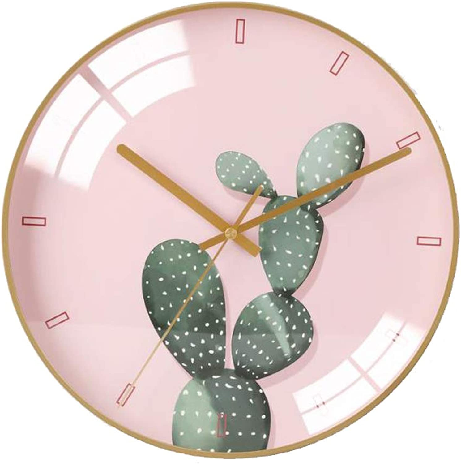 YONGMEI Wall Clock - Simple Living Room Bedroom Wall Clock Mute Personality Fashion Modern Wall Watch Wall Table Quartz Clock (color   Pink, Size   30CM)