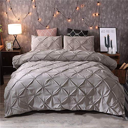 HXPH Linen Zone 5 Piece 300 Thread 100% Egyptian Cotton Sateen Luxury Reversible Duvet Cover Set (Super King)