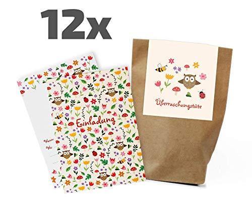 12 Blumenwiesen Einladungskarten/Partytüten Set zum Kindergeburtstag / Mitgebseltüten / Geschenktüten / Blumen / Geburtstagseinladungen / Einladungen / Give-aways /Geburtstag / Kids / Jungen / Mädchen