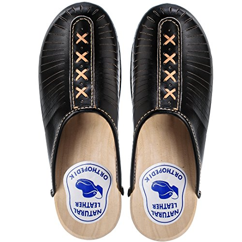ESTRO Zuecos De Madera para Mujer Calzado Sanitario De Trabajo CDL01 (36, Negro)