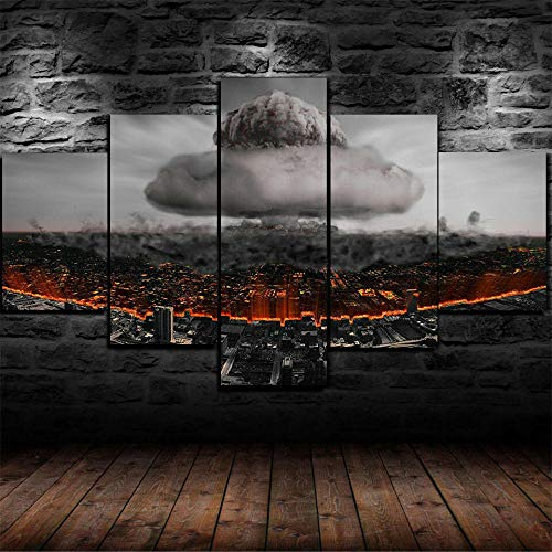 AWER 5 piezas de lienzo de arte de pared -Cuadro sobre Lienzo- Champiñones de bomba nuclear Impresión en Lienzo- Listo para Colgar - en un Marco - Ancho: 150cm, Altura: 80cm