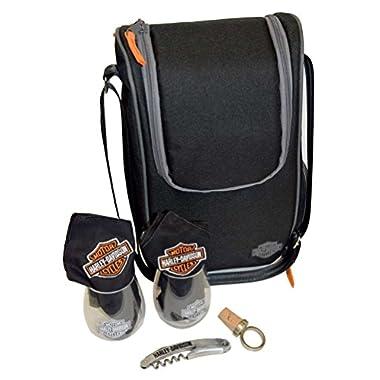 Harley-Davidson Wine Tote, Bar & Shield Logo w/ 2 Glasses, Black 436-49
