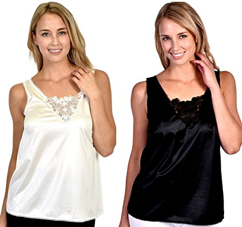 Patricia Lingerie Women's Anti-Static Camisole with Elegant Lace 2-Pack (Black/Ivory, M)