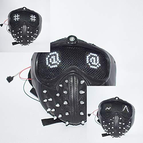 DMAR WatchDogs 2 beleuchtete Masken (veränderbarer Ausdruck), Nietschlüssel-Halbmaske mit verstellbarem Band, Halloween-Punk-Cosplay, Spielestütze für Partykostüm