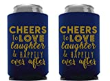 Wedding Can Can Cooler Decorations - Cheers to Love Laughter and Happily Ever After, Can Coolies Set of 12, Wedding Supplies For Bridal Showers, Engagements and Bachelorette Parties (Navy Blue)