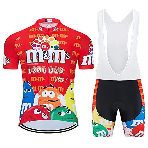 Moxilyn Ropa de Ciclismo para Hombre Traje de Bicicleta Conjunto de Verano Top + Bib Shorts Acolchados, Almohadilla de Asiento de Gel 9D para Montar En Bicicleta Conjunto Cómodo y De Secado Rápido