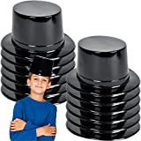 ArtCreativity Black Plastic Top Hats for Kids and Adults, Set of 12, Fun Halloween Costume Accessories, Magic Birthday Party Favors, Snowman Hats, Unique Arts and Crafts Supplies for Children