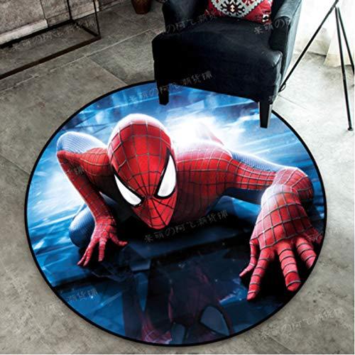 zzqiao Tappeto Tappeto Rotondo Tappetino da Gioco Cartone Animato Anime Cameretta per Bambini Marvel Heroes Avengers Spider-Man Iron Man Camera da Letto Cristallo Velluto Diametro Dimensioni 140 Cm