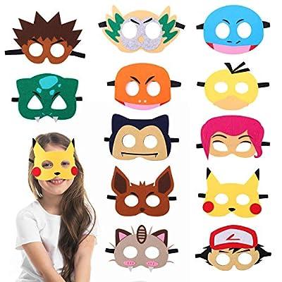 Herefun Máscaras de Pokemon máscaras niños de Cosplay Suministros de Fiesta de Pokemon para Halloween Navidad Accesorio de Fiesta Infantil y Adultos Regalo Cumpleaños Máscaras Mitad de Fieltro por
