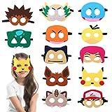 Herefun Máscaras de Pokem máscaras niños de Cosplay Suministros de Fiesta de Pokem para Halloween Navidad Accesorio de Fiesta Infantil y Adultos Regalo Cumpleaños Máscaras Mitad de Fieltro (12PCS)