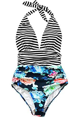 CUPSHE Women's Stripe Halter One-Piece Swimsuit Keeping You Accompained Swimwear, XXL Blue