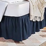 Best Bed Skirts - AmazonBasics Ruffled Bed Skirt - King, Navy Blue Review