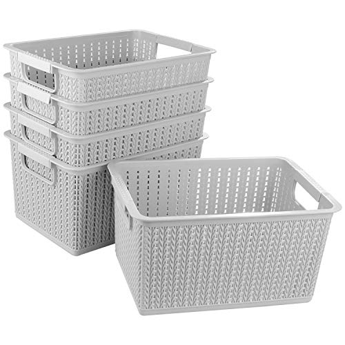 STARVAST 5 Pack Plastic Storage Basket, Portable Plastic Weave Kitchen Refrigerator Basket Bathroom Desktop Storage Box for Kitchen, Bathroom and Cabinet - 270mm x 190mm x 140mm (Gray)