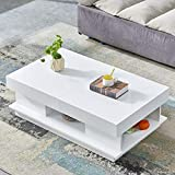 nozama High Gloss Coffee Table White with 2 Drawer Living Room Coffee Table Rectangular End Coffee Table Sofa Side Modern Coffee Table for Bedroom Decor Tea Table for Home Office