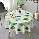 Traann Oilcloth Tablecloth, Round Wipe Clean Tablecloth Rectangular Waterproof Vinyl PVC Table Cloth for Garden Kitchen Outdoor or Indoor Leaf print-100_A