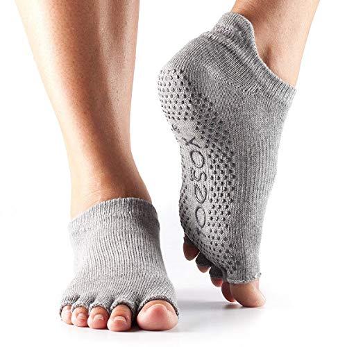 ToeSox Women's Grip Half Toe Low Rise Socks, Medium, Heather Grey