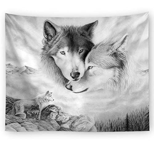 HNTLY Wolf Wandteppiche, Wandbehänge, Picknickmatten, Home-Office-Dekoration 150X100Cm