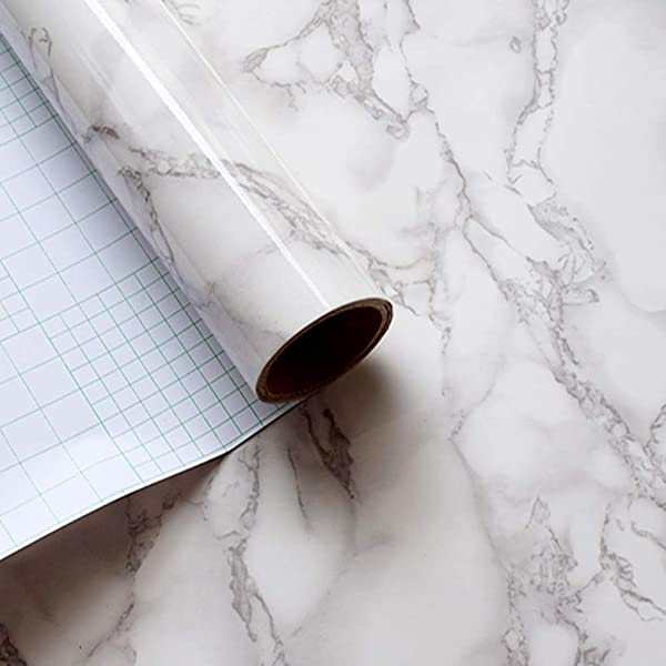 LaCheery Large Size 36x160in Grey White Marble Contact Paper Faux Countertops Peel And Stick Wallpaper Decorative Self Adhesive Film For Cabinet Table Desk Shelf Liner Removable Marble Sticker Paper