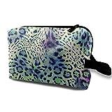 Bolsa de cosméticos verde leopardo para mujer, bolsas de maquillaje de viaje espaciosas neceser organizador de accesorios con cremallera