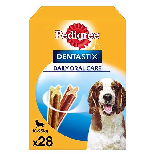 Oferta de Pedigree Dentastix Snack Dental para la Higiene Oral de Perros Medianos (4 paquetes de 28ud)