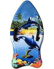 Idena 40311 Surfboard voor kinderen, bodyboard met polslussen en stoffen bekleding, orcas, ca. 93 x 45 x 9 cm
