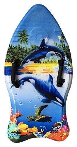Idena 40311 Surfboard für Kinder, Bodyboard mit Handschlaufen und Stoffüberzug, Orcas, ca. 93 x 45 x 9 cm