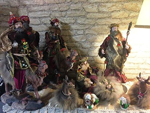 La Favola Incantata - Handmade PRESEPE NATIVITA' Sacra Famiglia Artigianale Pezzo Unico Decorativo Completo 9 Personaggi Inserti di Vero Visone Natale Made in Italy