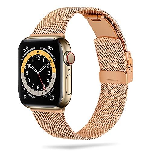 Anlinser Compatible con Correa Apple Watch 40mm 38mm 44mm 42mm, Pulsera de Repuesto Metal de Acero Inoxidable Respirable Compatible con iWatch Serie 6 5 4 3 2 1 SE (38mm/40mm, Oro Rosa)