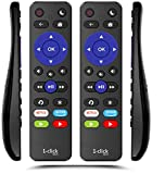 1-clicktech Remote for All Roku TV Brands [TCL/Hisense/Sharp/Insignia/ONN/Philips/Sanyo/JVC/.] w/TOP Volume Buttons and Channel-Lock for Built-in Roku Smart TV [NOT for Roku Stick] (2-Pack)