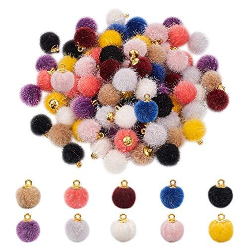PandaHall 10 Colores Pompones Pendientes encantos, 100 Piezas de Tela de Piel metálica Pompones Pendientes Colgantes Coloridos DIY Bola esponjosa para Borla Pendientes Colgantes joyería fabricación
