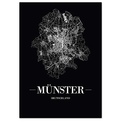 JUNIWORDS Stadtposter, Münster, Wähle eine Größe, 60 x 90 cm, Poster, Schrift A, Schwarz