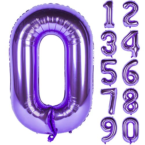 New 40 Inch Purple Digit Helium Foil Birthday Party Balloons Number 0
