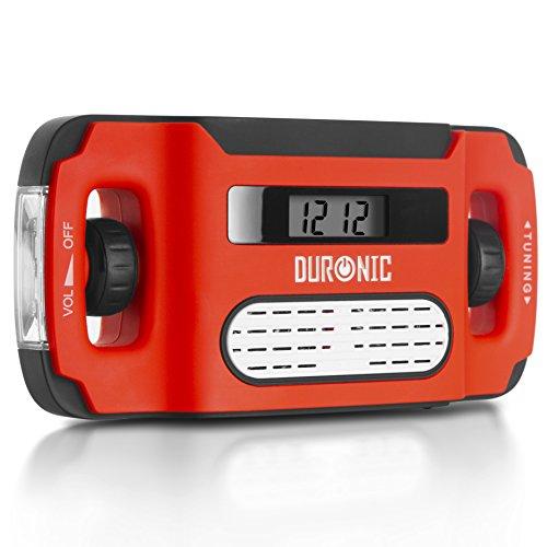 Duronic AM/FM Radio APEX | Charge 3 Ways: Solar, Wind Up, USB | Dynamo Crank Rechargeable | Headphone Jack | Portable | Alarm Clock | Torch | Back-lit Digital Display | Emergency Use, Camping, Hiking