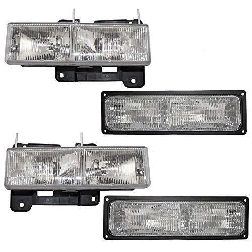 Aftermarket Replacement Driver and Passenger Set Composite Headlights & Front Signal Marker Lamps Compatible with 1994-1999 C1500 K2500 Suburban