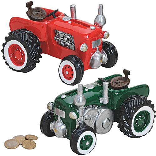 matches21 - Hucha de Tractor, Tractor, Tractor, Tractor, Rojo o Verde, Hucha de polirresina, 1 Unidad por 16 x 11 cm