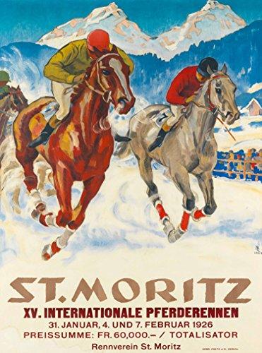 A SLICE IN TIME 1926 St. Moritz Internationale Pferderennen Horse Race Switzerland Vintage Swiss Suisse Travel Advertisement Art Poster Print. Poster Measures 10 x 13.5 inches