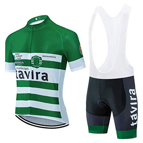 Trajes de ciclismo para hombre de manga corta, camiseta de ciclismo, camiseta de ciclismo, ropa de ciclismo + pantalones cortos de gel acolchados (verde, M)