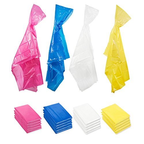 Poncho de Pluie d'Urgence Jetable pour Adulte avec Capuche (paquet de 20) - Rose, Bleu, Transparent, Jaune