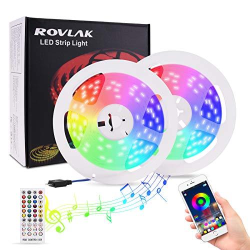 ROVLAK Tiras LED Luces RGB 10M Musical Luces de Tiras Led Colores con Control de APP Remoto Control Luces LED Strip Decoration para TV, Habitacion, Hogar, Bar, Fiesta, Restaurante, Coche (2 * 5M)