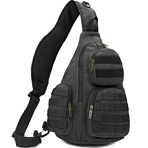 AOPUOP Canvas Sling Chest Bag Single Shoulder 14 inch Laptop Backpack for Men and Women(black)