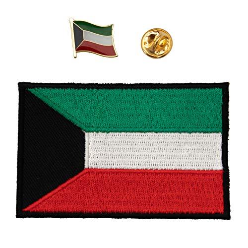 A-ONE 2 Stück Kuwait-Flaggen-Stickerei + Kuwait-Anstecknadel für Taschen, Weltflagge Anstecknadel