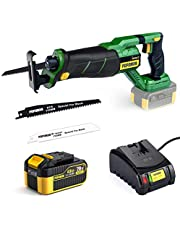"""POPOMAN 20V Brushless Cordless Reciprocating Saw, 4.0Ah Battery & Fast Charger, 1-1/8""""(28mm) Stroke Length, 0-2500 SPM, Variable Speed, 2 Blades for Metal & Wood Cutting - MTW200B"""