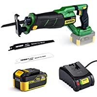 Popoman 20V Brushless Cordless Reciprocating Saw with 4.0Ah Lithium-Ion Battery