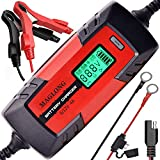 MAGLONG 6V/12V 1-4A Smart Automatic Battery Chargers with LCD Display, Automotive Battery Float Chargers Maintainer for Car, Motorcycle, Lawn Mower, Boat, RV, SUV and ATV, Waterproof and Eco Friendly