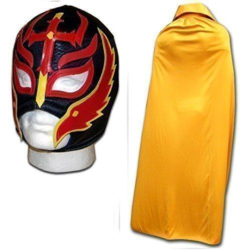 Son of the Devil Noir Masque avec doré cape adulte Luchador lutte mexicaine ensemble