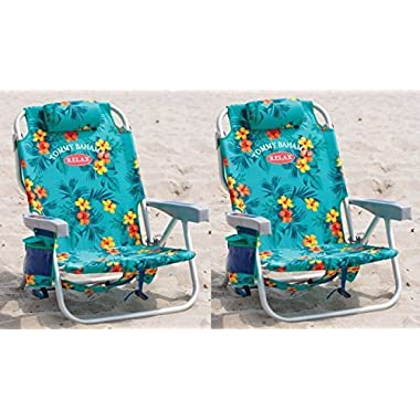 2 Tommy Bahama Backpack Cooler Chair with Storage Pouch and Towel Bar (Turquoise)