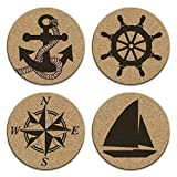 Anchor Boat Compass Ship Wheel Decor 4 Coaster Set