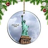 Weekino Freiheitsstatue USA Amerika New York Weihnachtsdekoration Christbaumkugel Hängender Weihnachtsbaum Anhänger Dekor City Travel Souvenir Collection Porzellan 2,85 Zoll