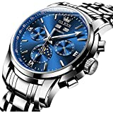 Ginasy Automatic Watches for Men Waterproof Self Winding Stainless Steel Mechanical Luxury Fashion Classic Wrist Watches Blue